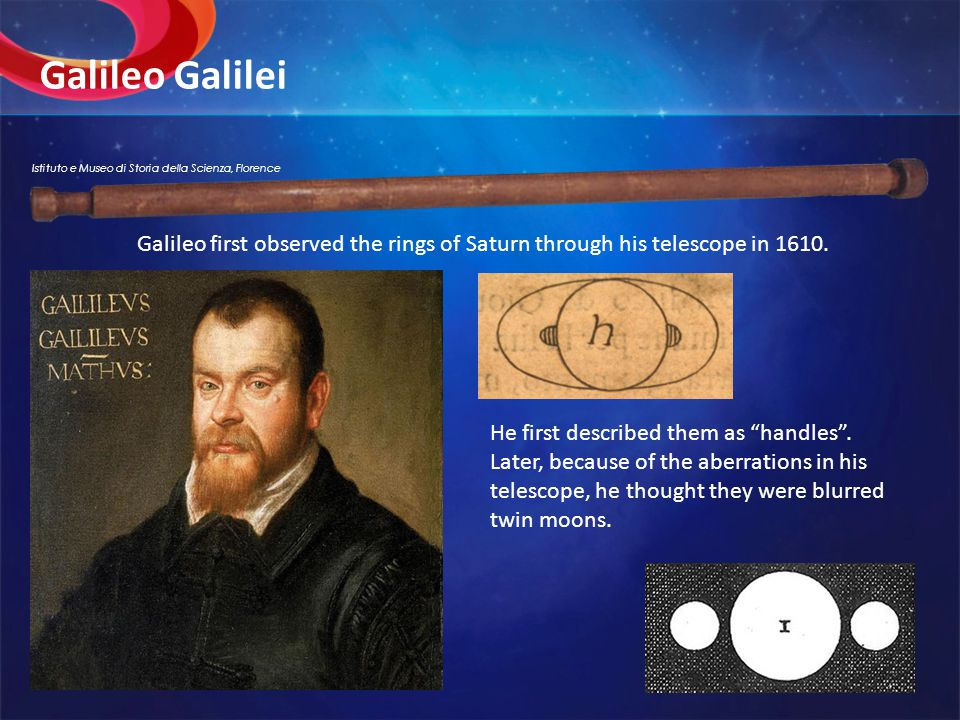 Galileo Galilei He first described them as handles .