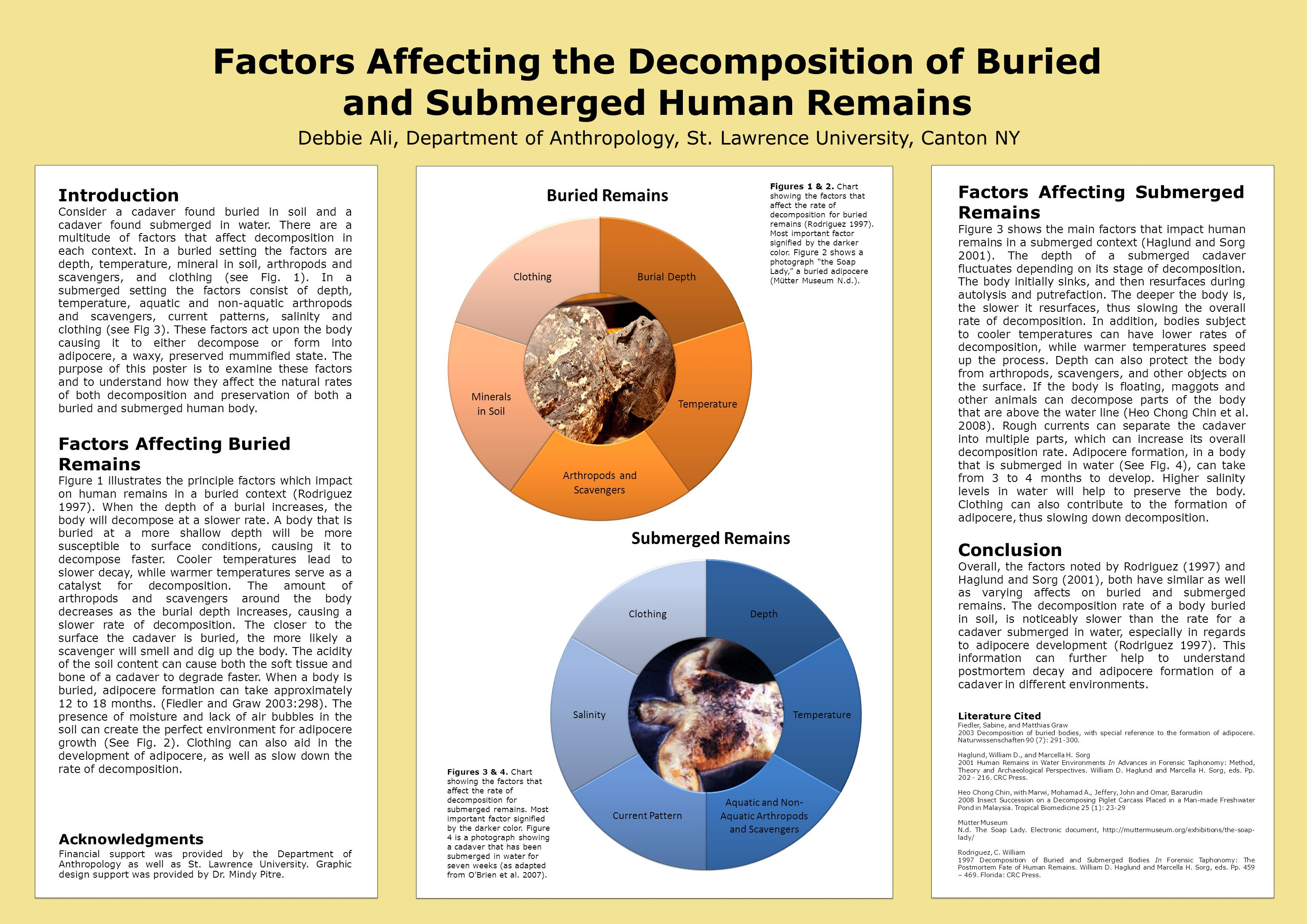 Factors Affecting the Decomposition of Buried and Submerged Human Remains Debbie Ali, Department of Anthropology, St. Lawrence University, Canton NY L
