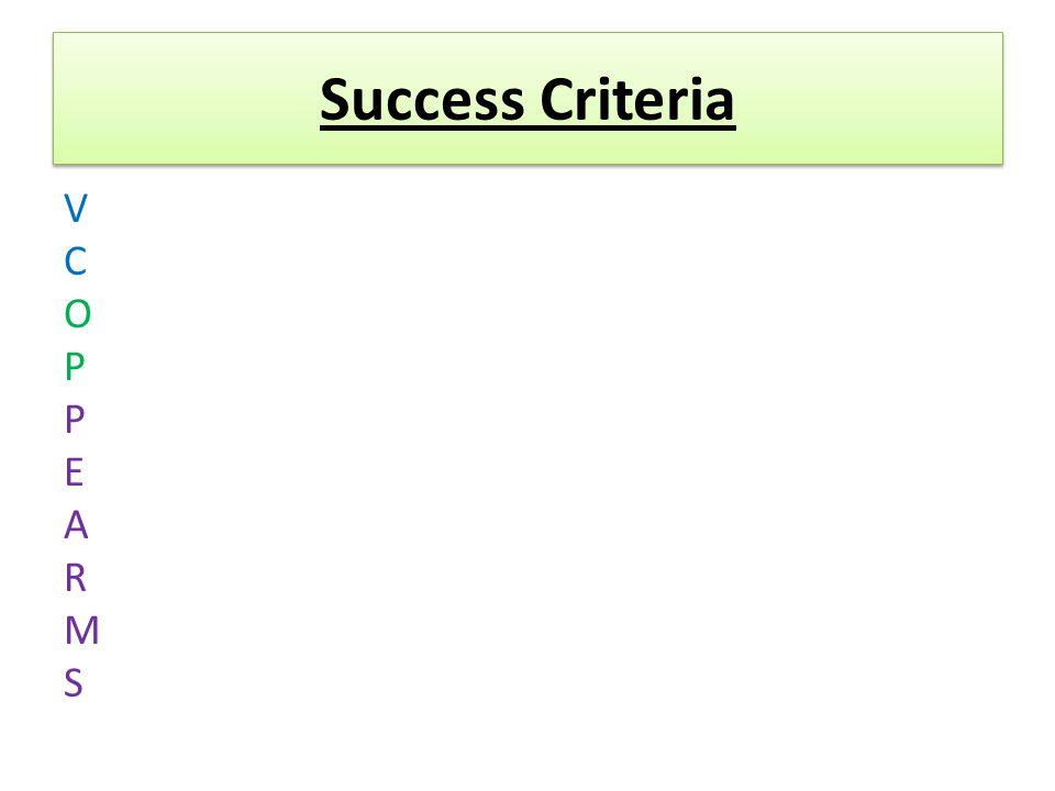 Success Criteria VCOPPEARMSVCOPPEARMS