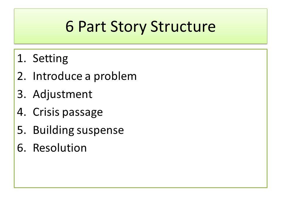 6 Part Story Structure 1.Setting 2.Introduce a problem 3.Adjustment 4.Crisis passage 5.Building suspense 6.Resolution
