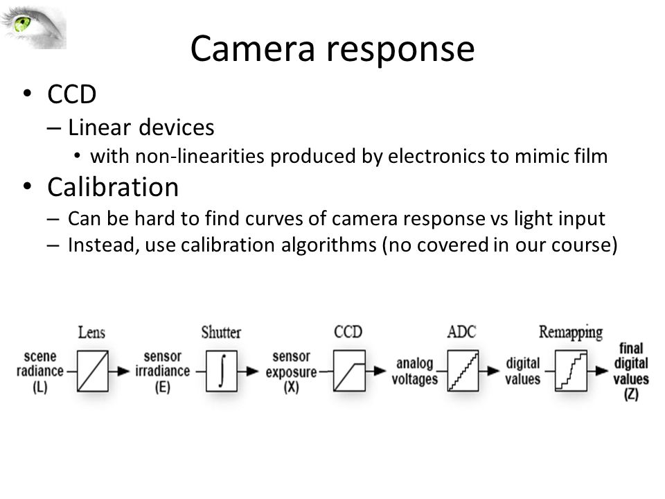 Camera response CCD – Linear devices with non-linearities produced by electronics to mimic film Calibration – Can be hard to find curves of camera res
