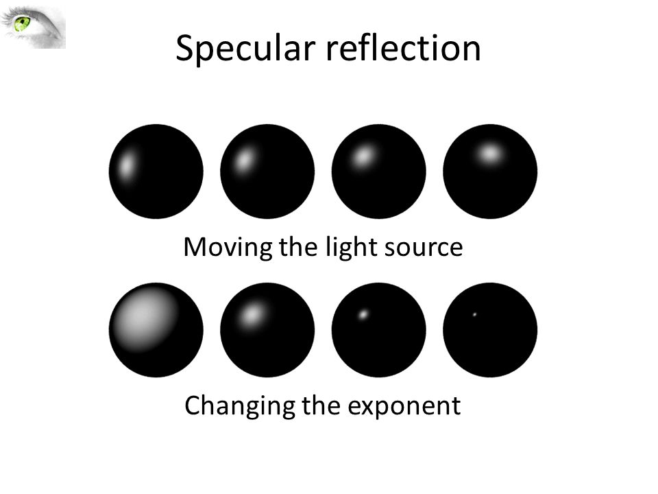 Specular reflection Moving the light source Changing the exponent