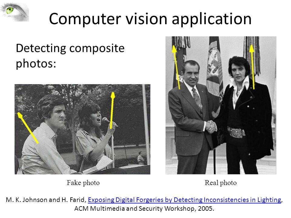 Computer vision application Fake photoReal photo M.