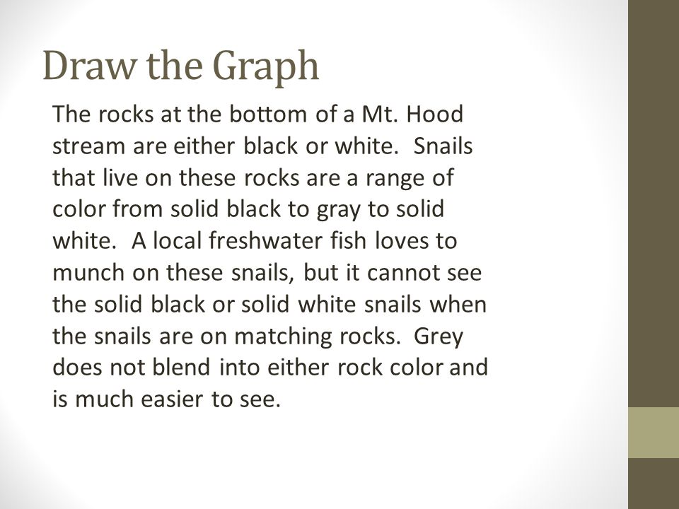 Draw the Graph The rocks at the bottom of a Mt. Hood stream are either black or white. Snails that live on these rocks are a range of color from solid