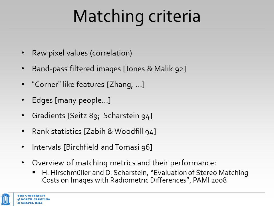 "Matching criteria Raw pixel values (correlation) Band-pass filtered images [Jones & Malik 92] "" Corner "" like features [Zhang, …] Edges [many people…]"