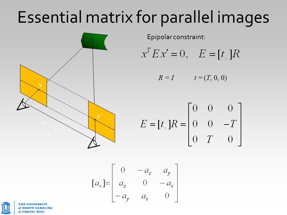 Essential matrix for parallel images R = I t = (T, 0, 0) Epipolar constraint: t x x'