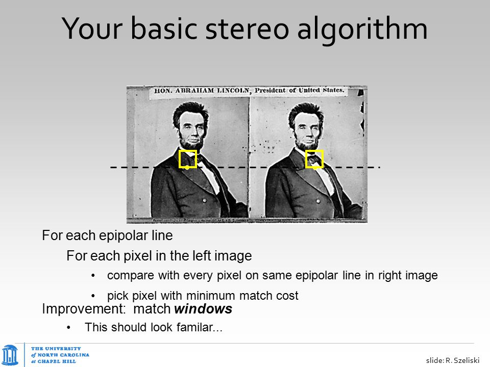 Your basic stereo algorithm For each epipolar line For each pixel in the left image compare with every pixel on same epipolar line in right image pick