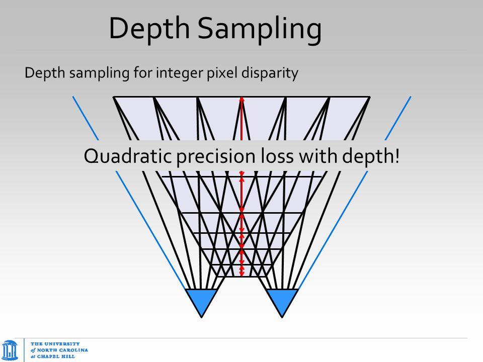 Depth Sampling Depth sampling for integer pixel disparity Quadratic precision loss with depth!