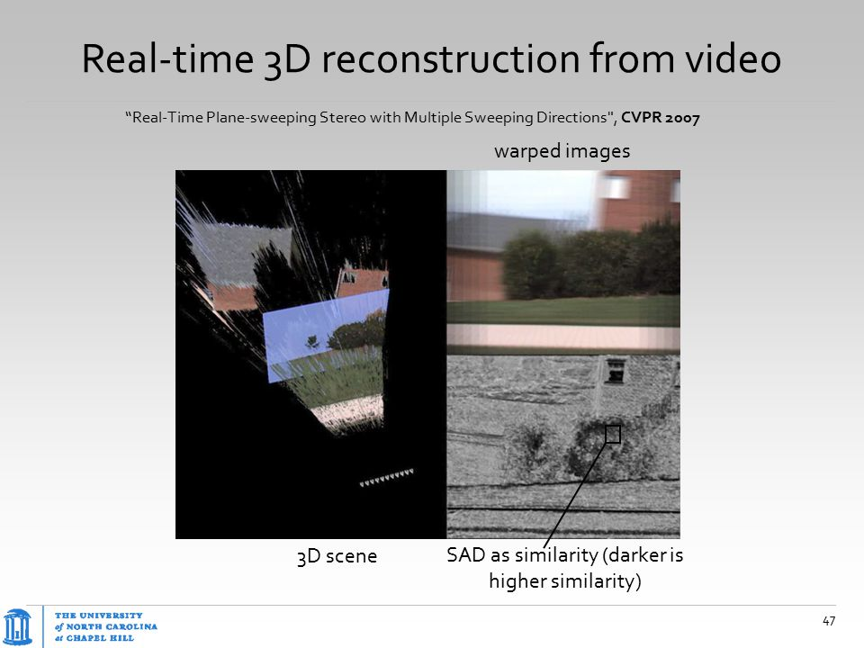 """Real-time 3D reconstruction from video 47 """"Real-Time Plane-sweeping Stereo with Multiple Sweeping Directions"""
