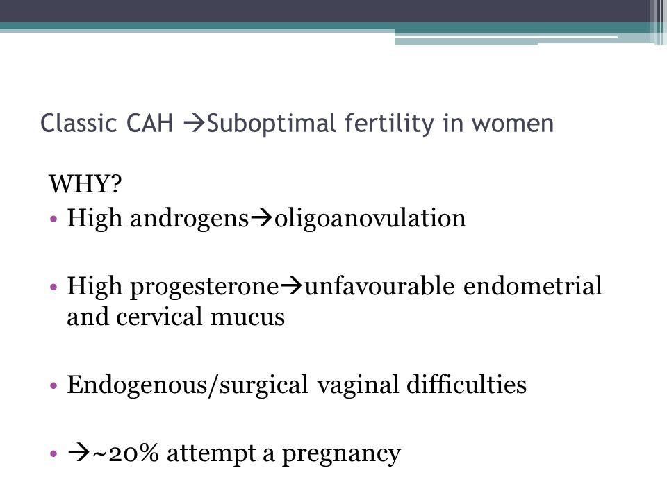 Classic CAH  Suboptimal fertility in women WHY.
