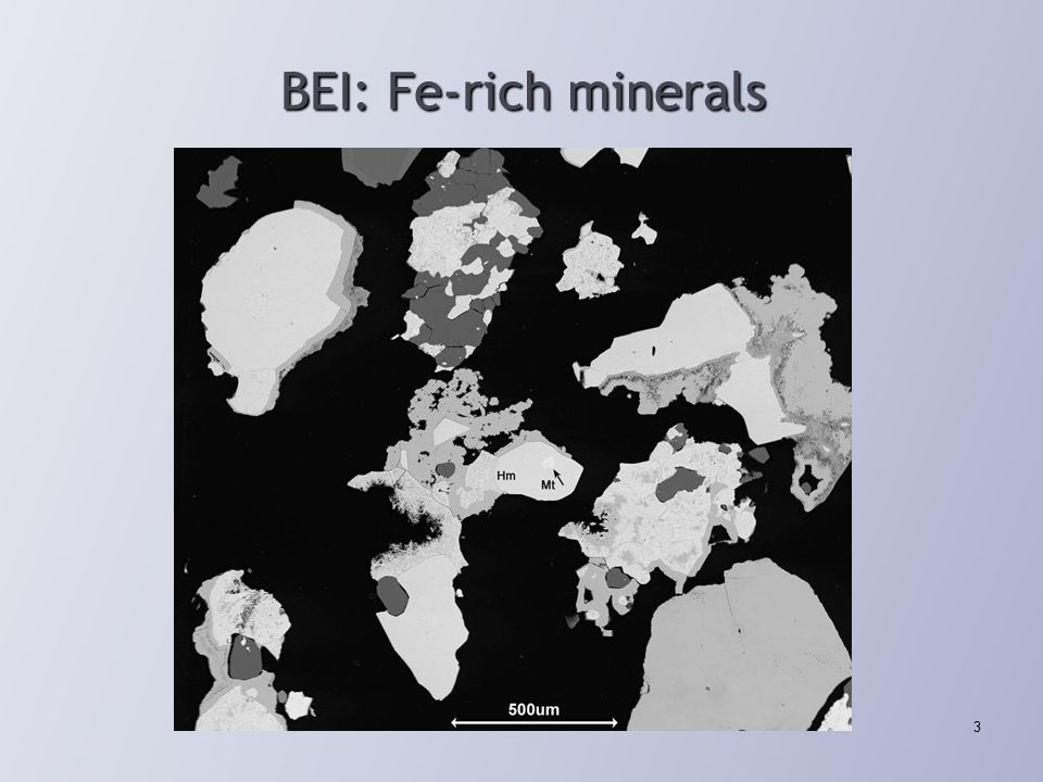 Fe-rich minerals of interest & spectral ambiguity Hematite & magnetite [Fe 2 O 3 versus Fe 3 O 4 ] Generally not distinguishable with x-ray spectra Associations important to client Titano-magnetite Distinguishable with x-ray spectra BSE similar to Hm Titanium important to client Goethite or limonite [FeO(OH)(H 2 O) n ] Generally with minor Al, Si, Mg, and usually distinguishable with x-ray spectra BSE darker than Hm (BSE classification would be helpful) Siderite [FeCO 3 ] Generally with Ca, Mg, Mn, and usually distinguishable with x-ray spectra BSE darker than Hm (BSE classification would be helpful) 4