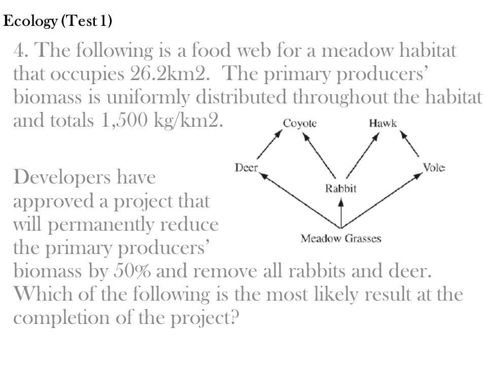 Ecology (Test 1) 4. The following is a food web for a meadow habitat that occupies 26.2km2. The primary producers' biomass is uniformly distributed th