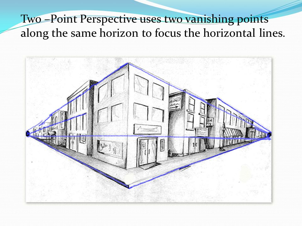 Two –Point Perspective uses two vanishing points along the same horizon to focus the horizontal lines.