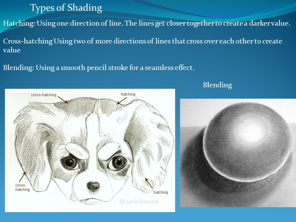 Types of Shading Hatching: Using one direction of line.