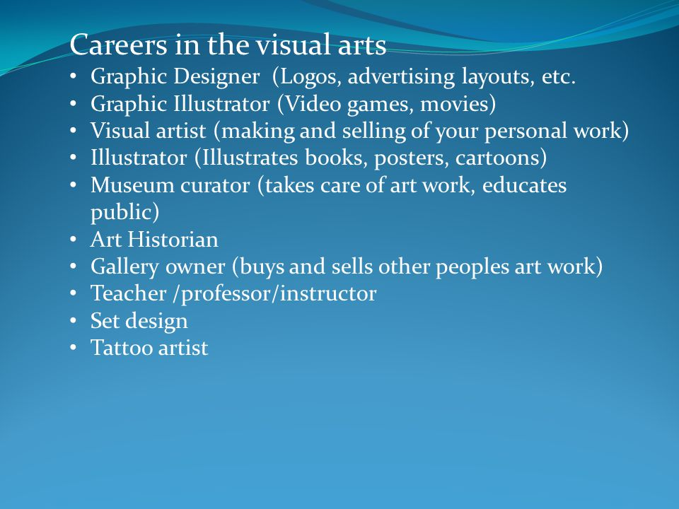 Careers in the visual arts Graphic Designer (Logos, advertising layouts, etc.