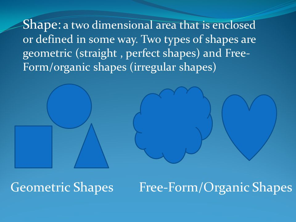 Shape: a two dimensional area that is enclosed or defined in some way.