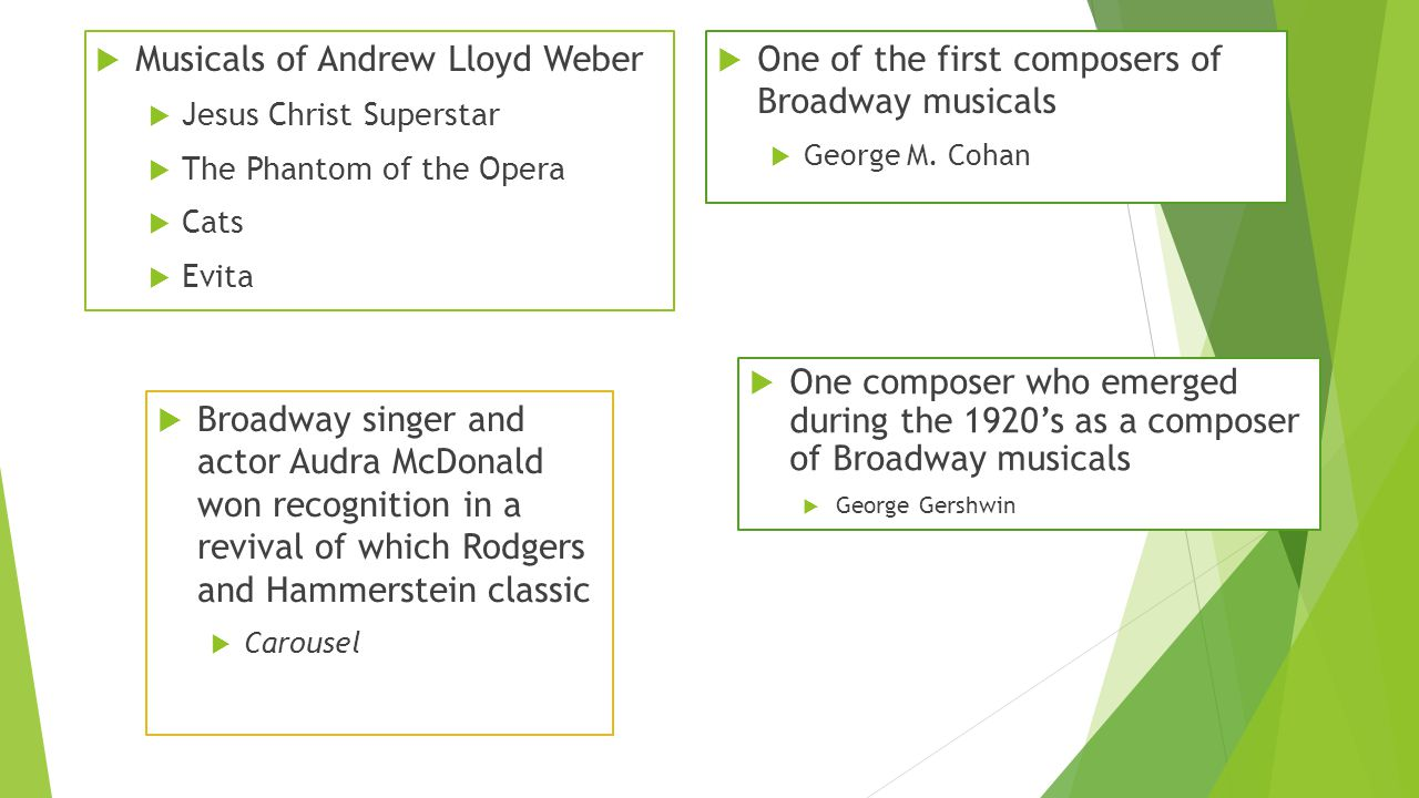  Musicals of Andrew Lloyd Weber  Jesus Christ Superstar  The Phantom of the Opera  Cats  Evita  One of the first composers of Broadway musicals  George M.