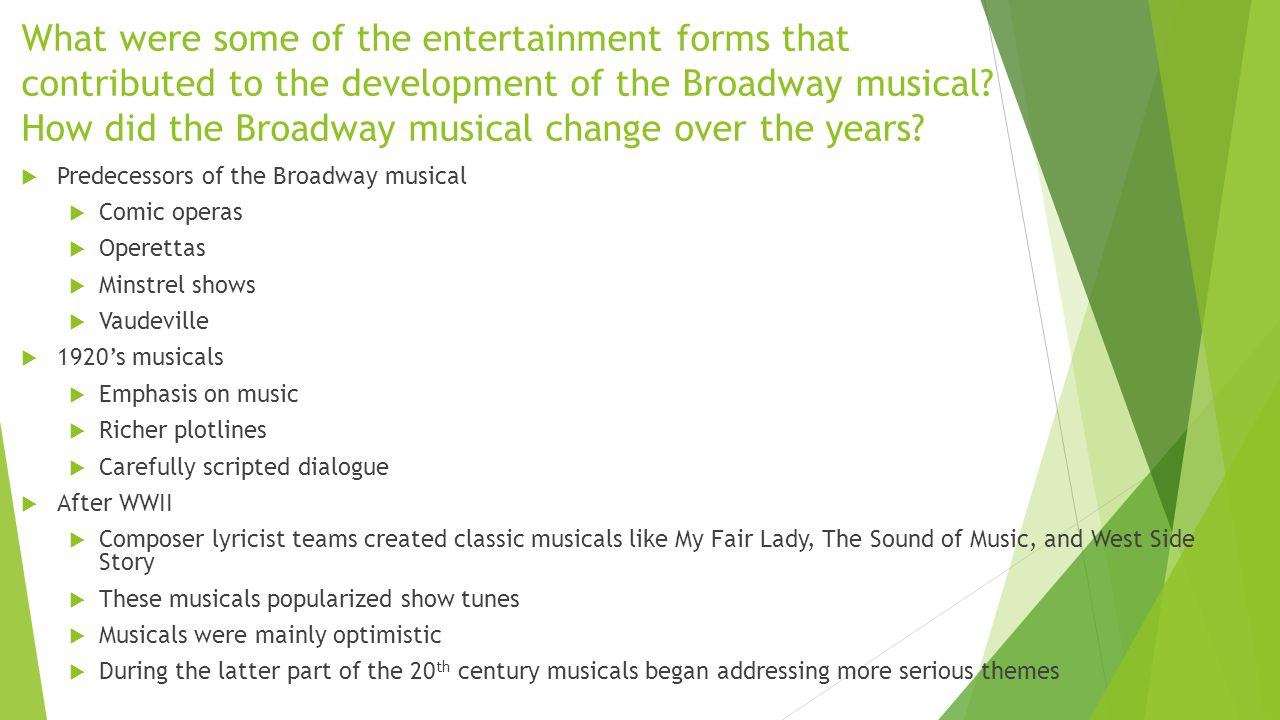 What were some of the entertainment forms that contributed to the development of the Broadway musical.