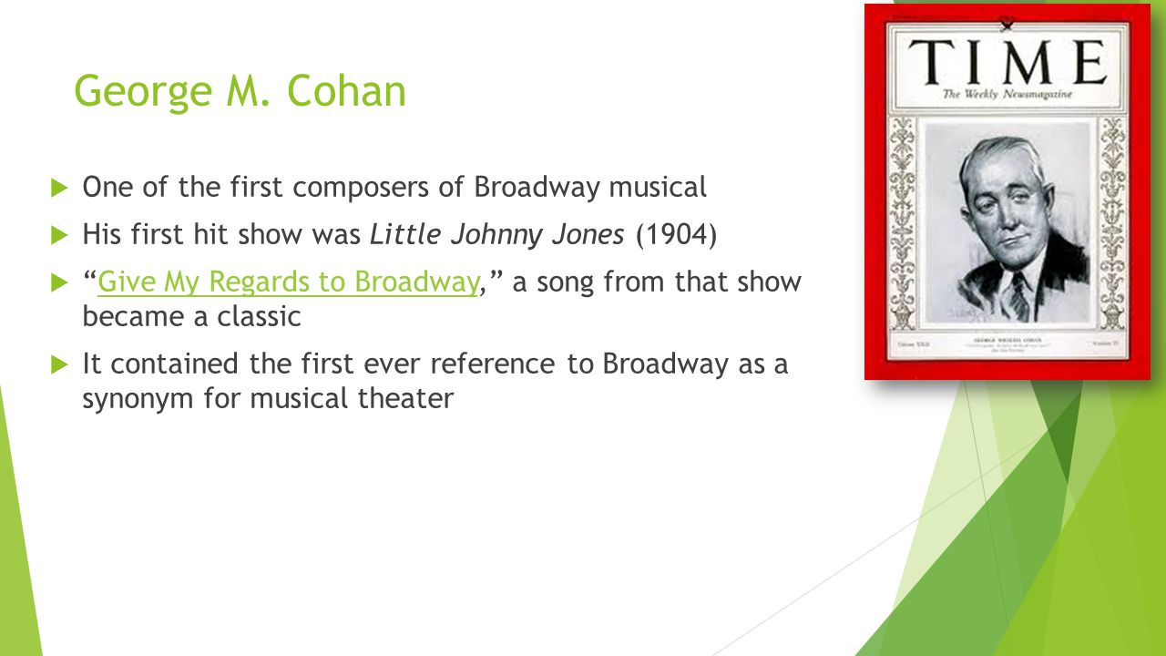 "George M. Cohan  One of the first composers of Broadway musical  His first hit show was Little Johnny Jones (1904)  ""Give My Regards to Broadway,"""