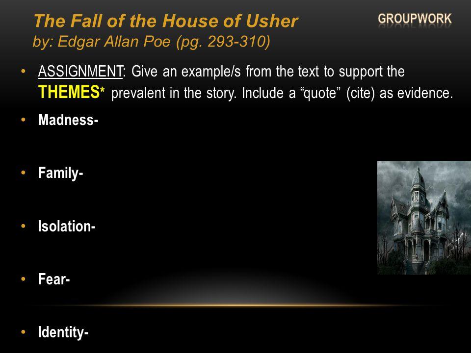 Edgar Allan Poe's The Fall of the House of Usher POST- Reading (classwork) Setting= Genre= Symbols Art= House= Nameless narrator?? (point?)= What's up