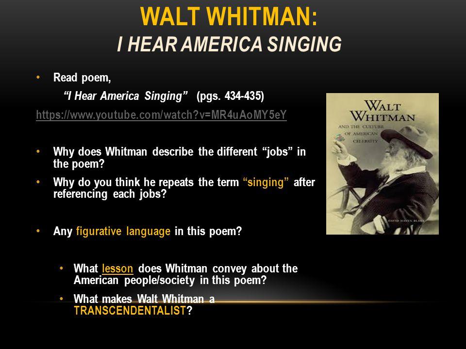 WALT WHITMAN: I HEAR AMERICA SINGING I Hear America Singing by Walt Whitman – YouTube