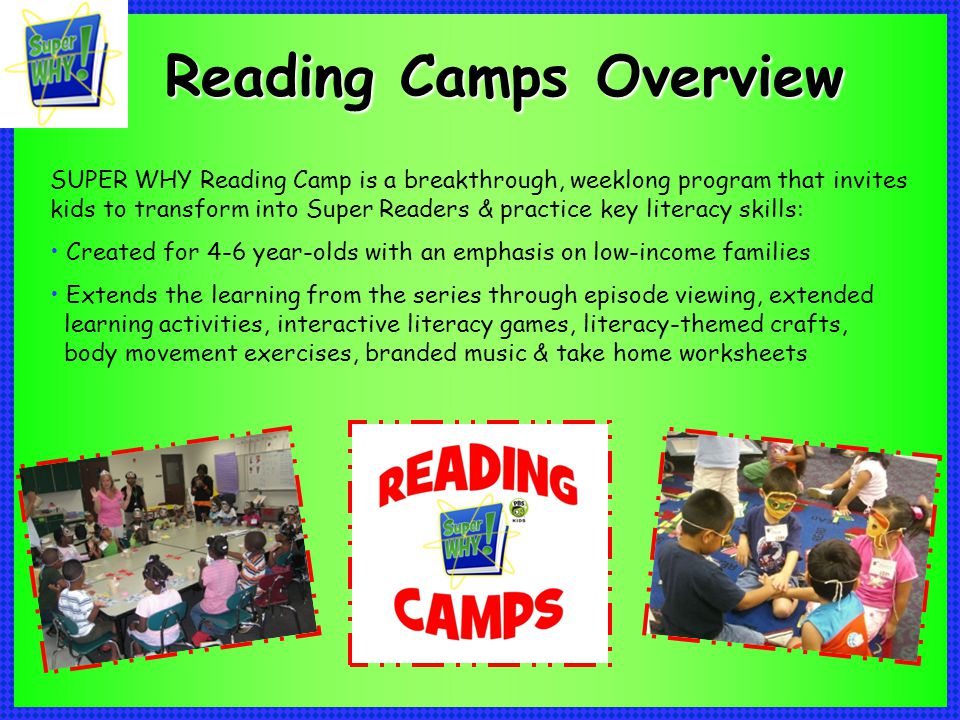 SUPER WHY Reading Camp is a breakthrough, weeklong program that invites kids to transform into Super Readers & practice key literacy skills: Created f