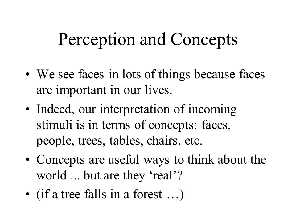 Perception and Concepts We see faces in lots of things because faces are important in our lives.