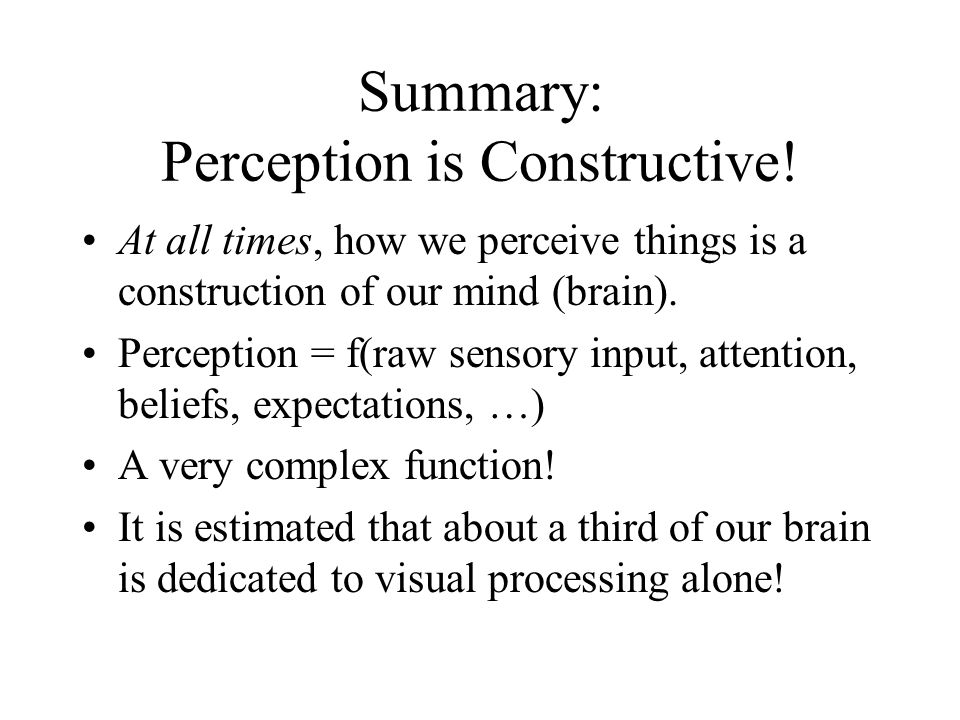 Summary: Perception is Constructive.