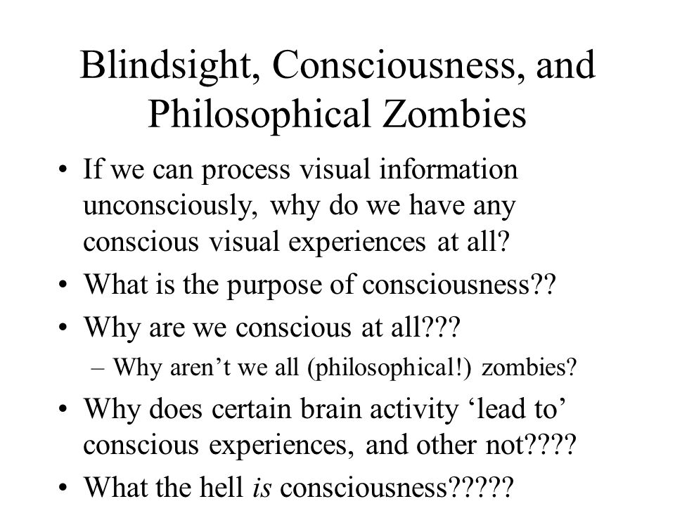 Blindsight, Consciousness, and Philosophical Zombies If we can process visual information unconsciously, why do we have any conscious visual experiences at all.