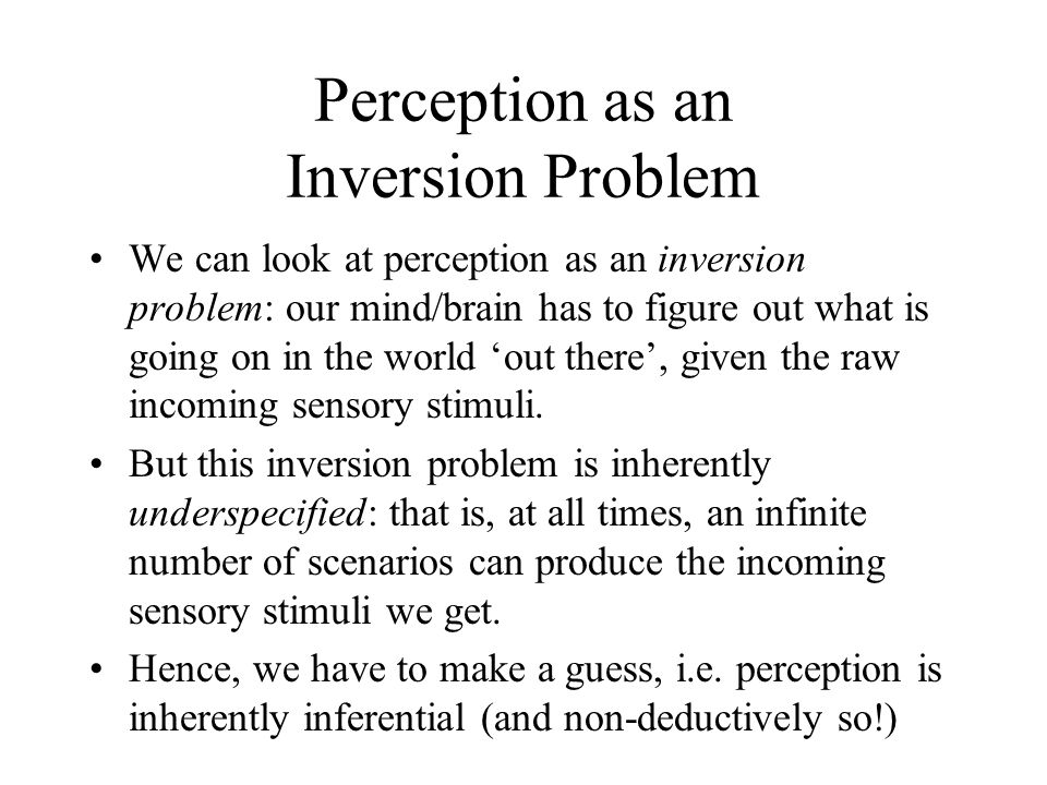 Perception as an Inversion Problem We can look at perception as an inversion problem: our mind/brain has to figure out what is going on in the world 'out there', given the raw incoming sensory stimuli.