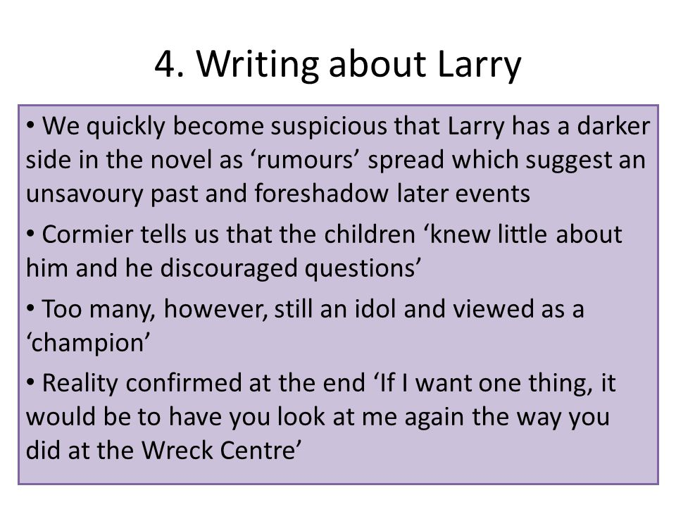 4. Writing about Larry We quickly become suspicious that Larry has a darker side in the novel as 'rumours' spread which suggest an unsavoury past and