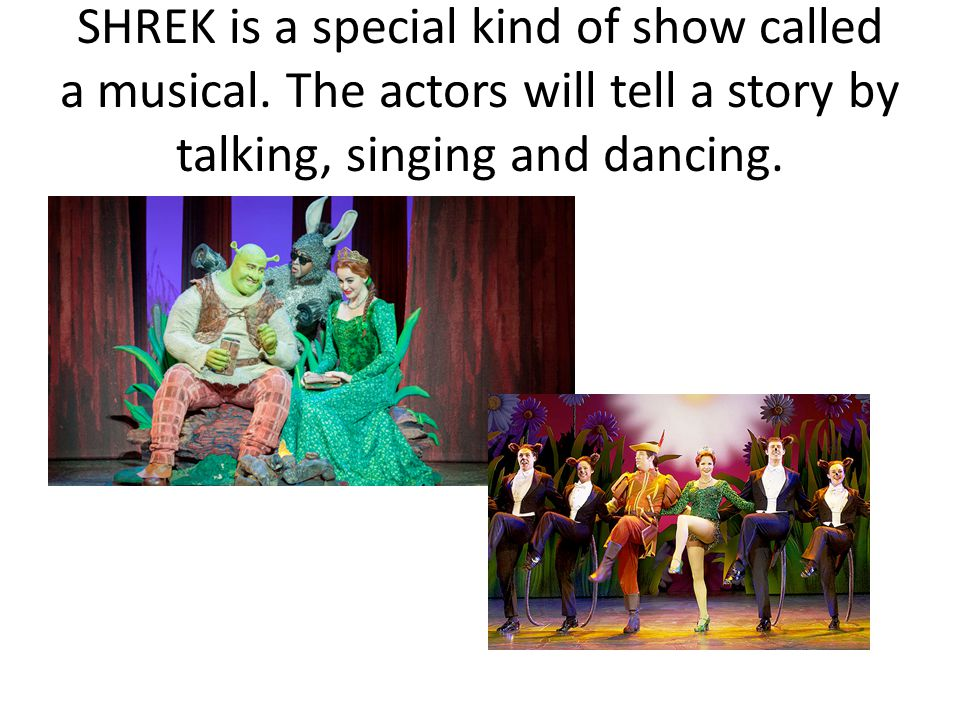 SHREK is a special kind of show called a musical.