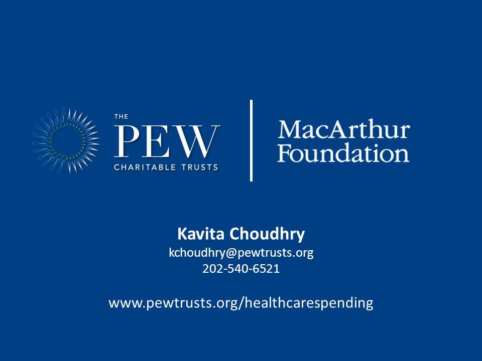 Kavita Choudhry kchoudhry@pewtrusts.org 202-540-6521 www.pewtrusts.org/healthcarespending