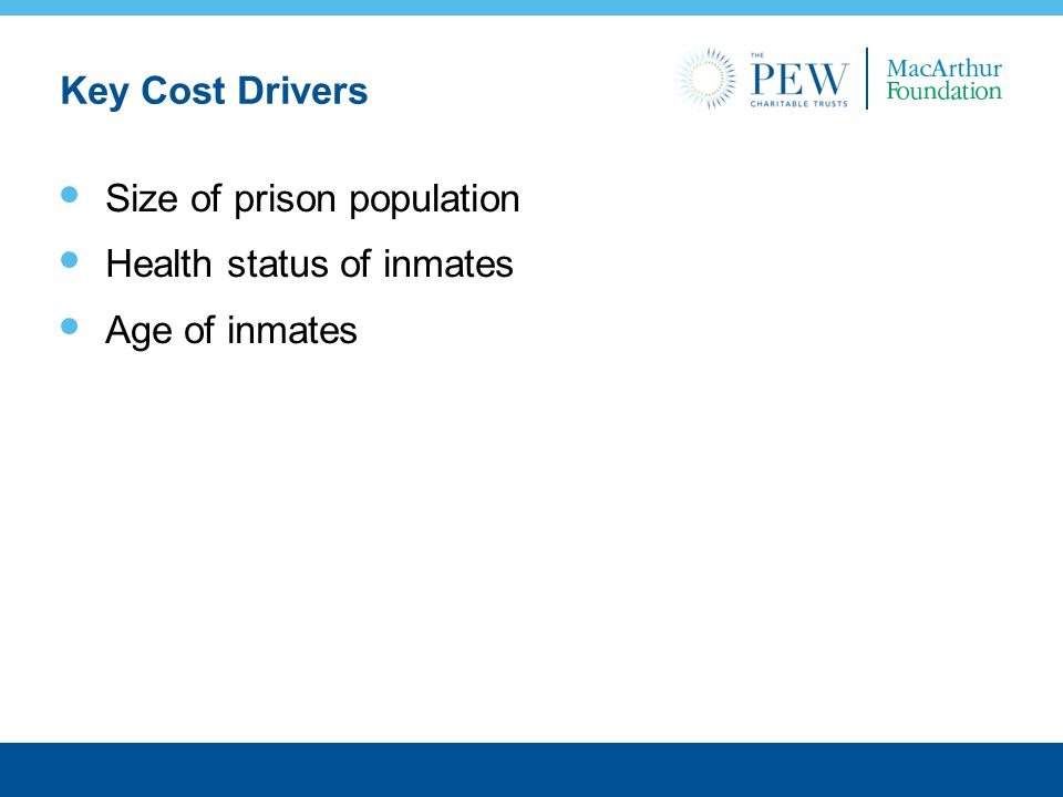 Key Cost Drivers Size of prison population Health status of inmates Age of inmates