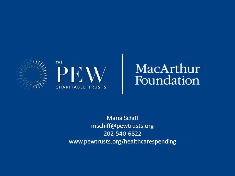 Maria Schiff mschiff@pewtrusts.org 202-540-6822 www.pewtrusts.org/healthcarespending
