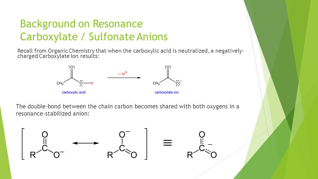Background on Resonance Carboxylate / Sulfonate Anions Recall from Organic Chemistry that when the carboxylic acid is neutralized, a negatively- charged Carboxylate Ion results: The double-bond between the chain carbon becomes shared with both oxygens in a resonance-stabilized anion:
