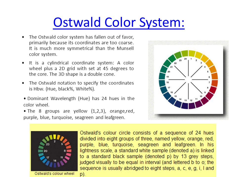 Ostwald Color System: The Ostwald color system has fallen out of favor, primarily because its coordinates are too coarse.