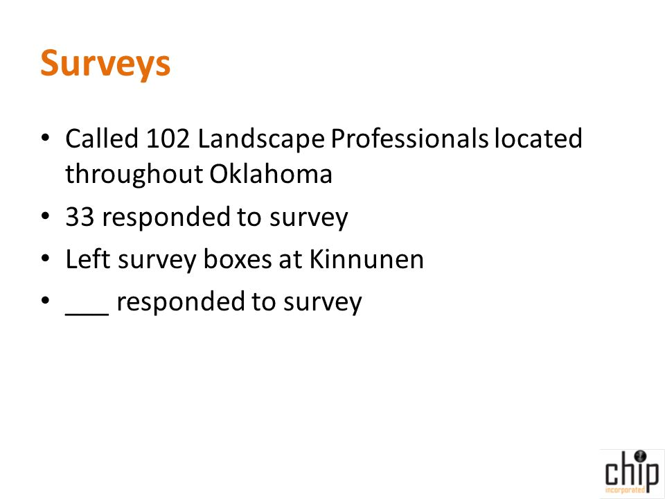 Surveys Called 102 Landscape Professionals located throughout Oklahoma 33 responded to survey Left survey boxes at Kinnunen ___ responded to survey