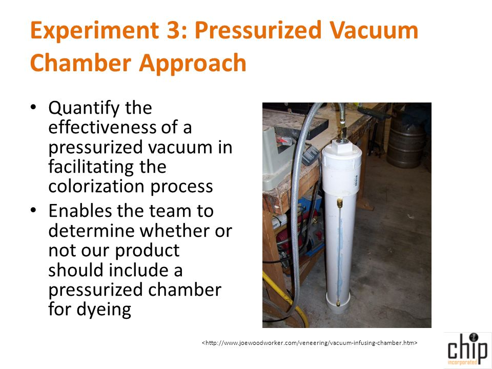 Experiment 3: Pressurized Vacuum Chamber Approach Quantify the effectiveness of a pressurized vacuum in facilitating the colorization process Enables the team to determine whether or not our product should include a pressurized chamber for dyeing