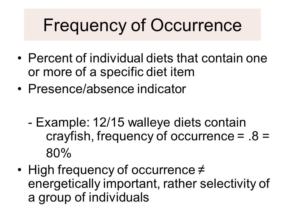 Frequency of Occurrence Percent of individual diets that contain one or more of a specific diet item Presence/absence indicator - Example: 12/15 walle