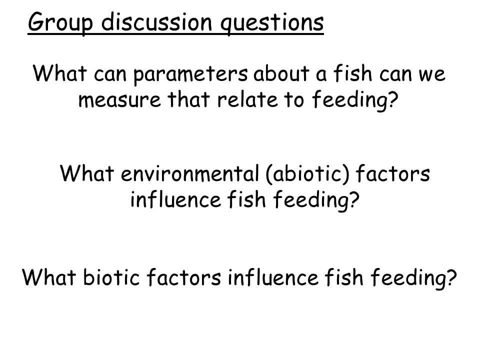 What can parameters about a fish can we measure that relate to feeding? What environmental (abiotic) factors influence fish feeding? What biotic facto