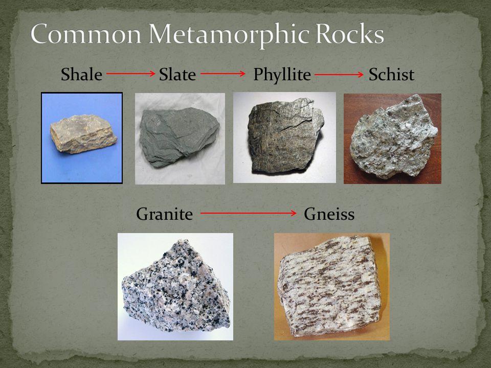Shale Slate Phyllite Schist Granite Gneiss