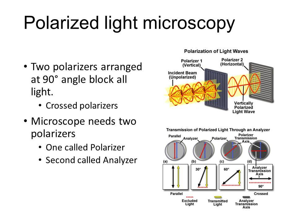 Polarized light microscopy Two polarizers arranged at 90° angle block all light. Crossed polarizers Microscope needs two polarizers One called Polariz