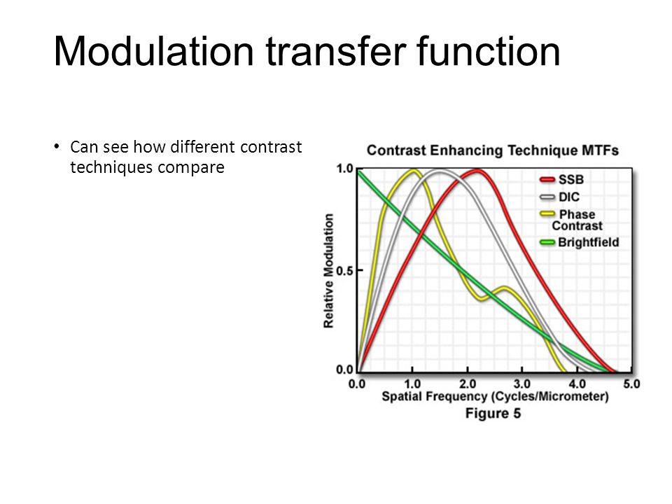 Modulation transfer function Can see how different contrast techniques compare