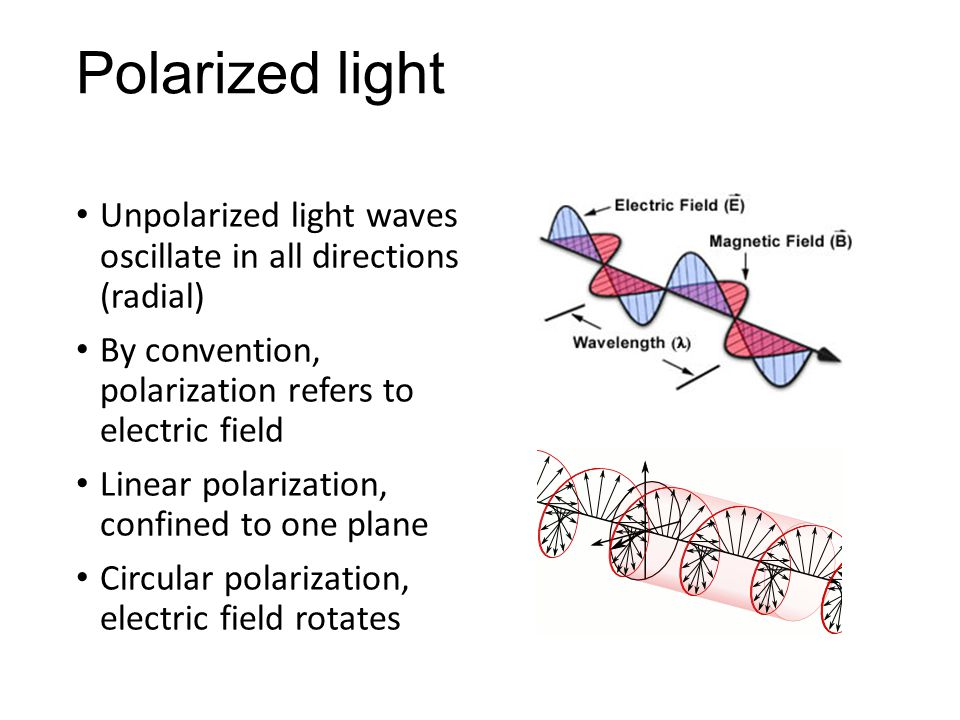 Polarized light Unpolarized light waves oscillate in all directions (radial) By convention, polarization refers to electric field Linear polarization, confined to one plane Circular polarization, electric field rotates