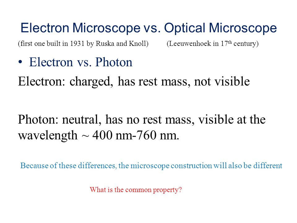 Electron Microscope vs.Optical Microscope Electron vs.
