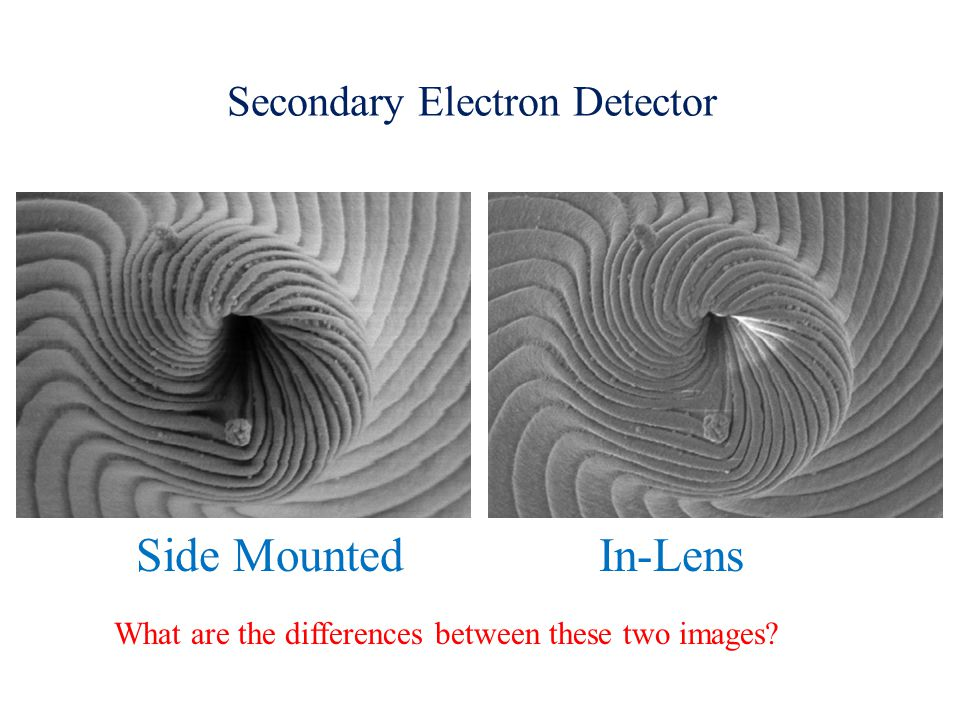 Secondary Electron Detector Side Mounted In-Lens What are the differences between these two images?