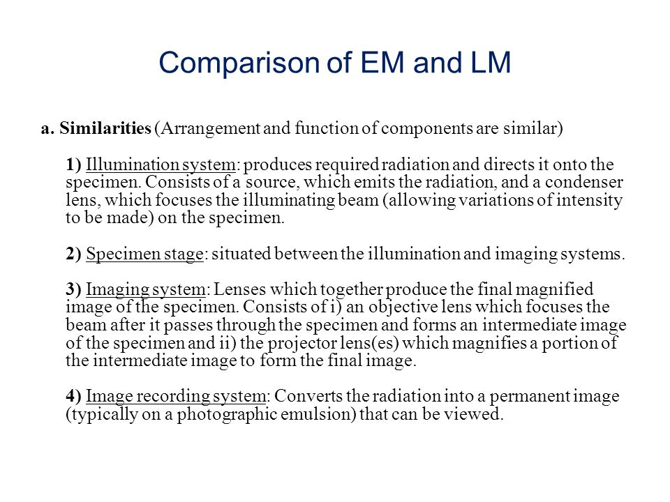 Comparison of EM and LM a.