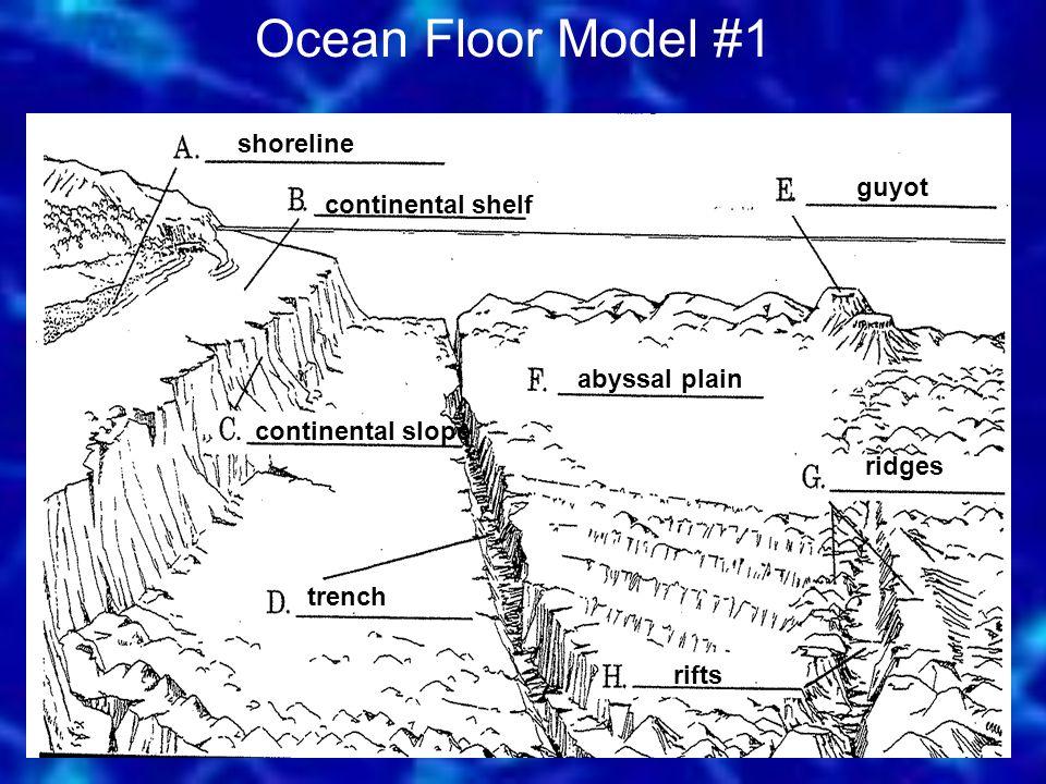 shoreline continental shelf continental slope trench abyssal plain guyot ridges rifts Ocean Floor Model #1