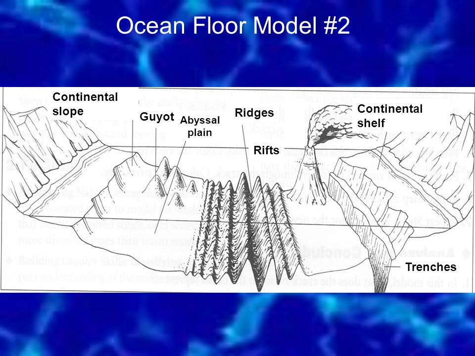 Ocean Floor Model #2 Continental shelf Continental slope Abyssal plain Trenches Ridges Guyot Rifts